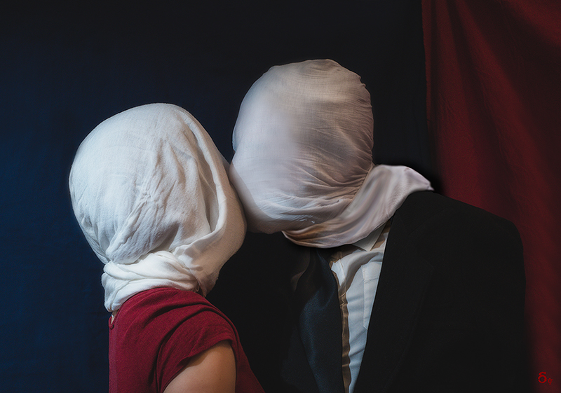 Two figures with their faces covered by a white cloth, locked in an ambiguous setting and unable to truly communicate or touch. A barrier of fabric prevents the intimate embrace between two lovers, transforming an act of passion into one of isolation and frustration.