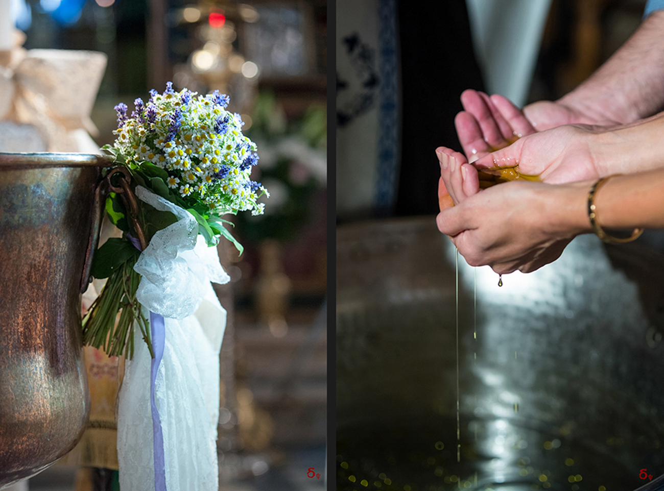 details of a baptism day hands with baptism oil flowers levander christening photographer