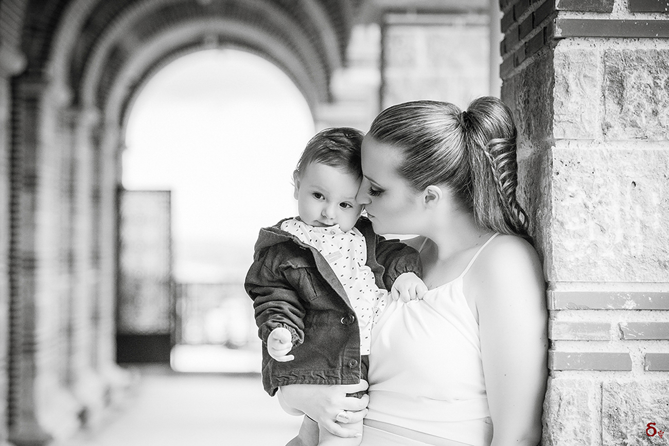 mother and son black and white love is in the air christening day