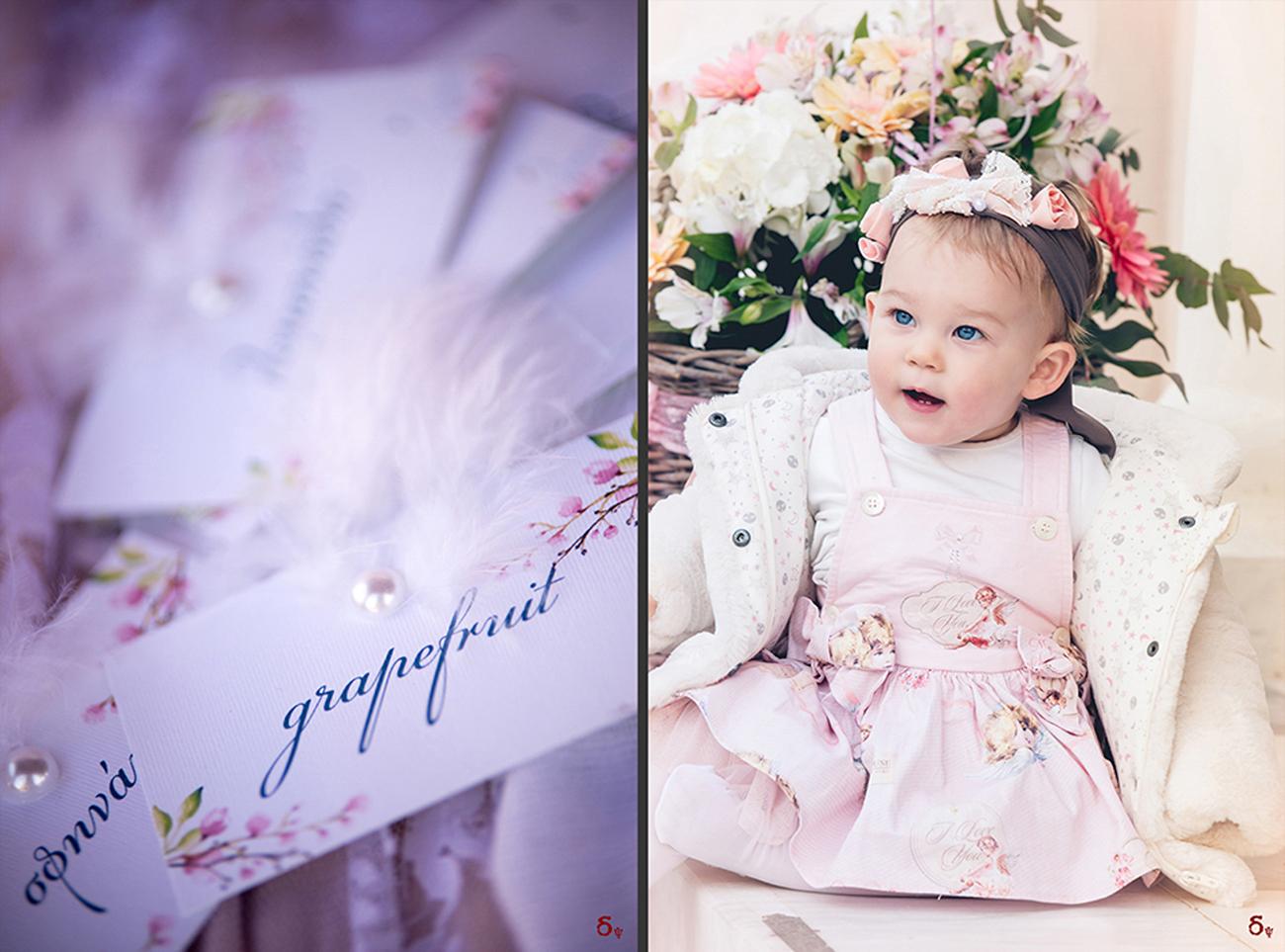 blue eyes , pink details, girls christening